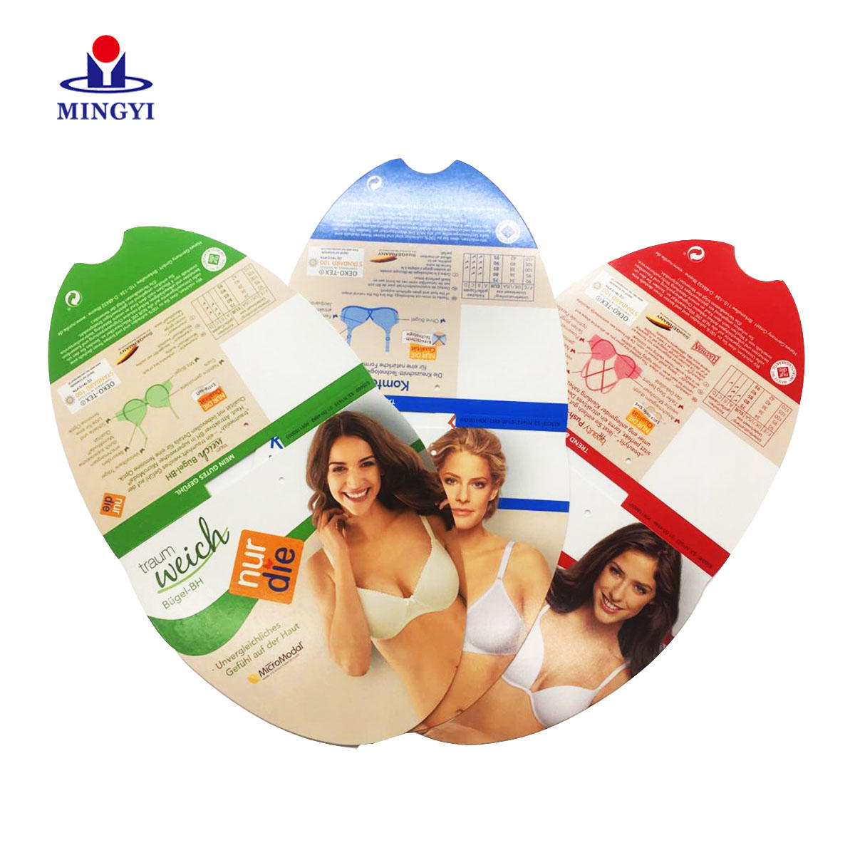 High quality CMYK and pantone color printing underwear private hang tags custom