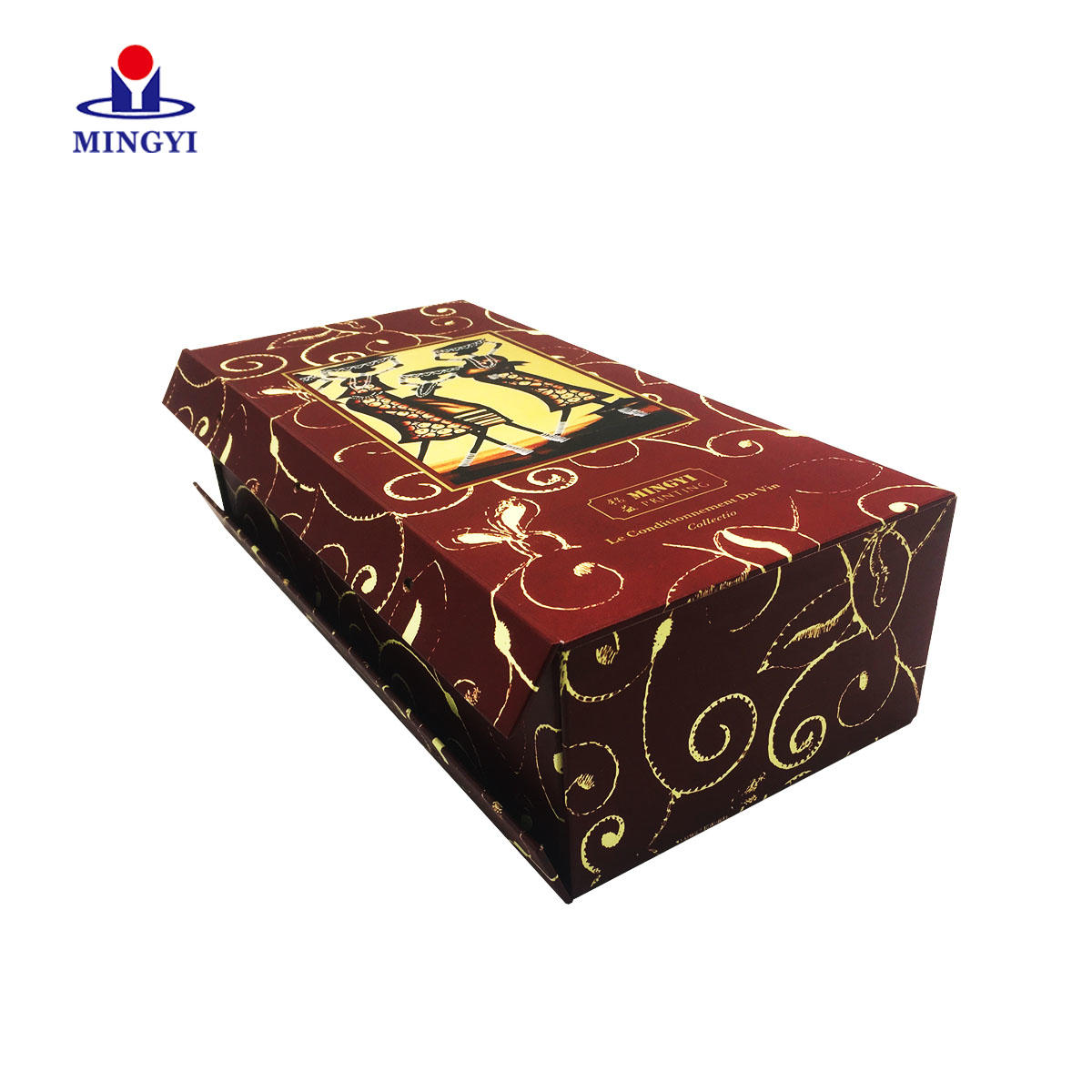 Mingyi new design luxury grey board wine packaging boxes make in china which is best for glass bottle