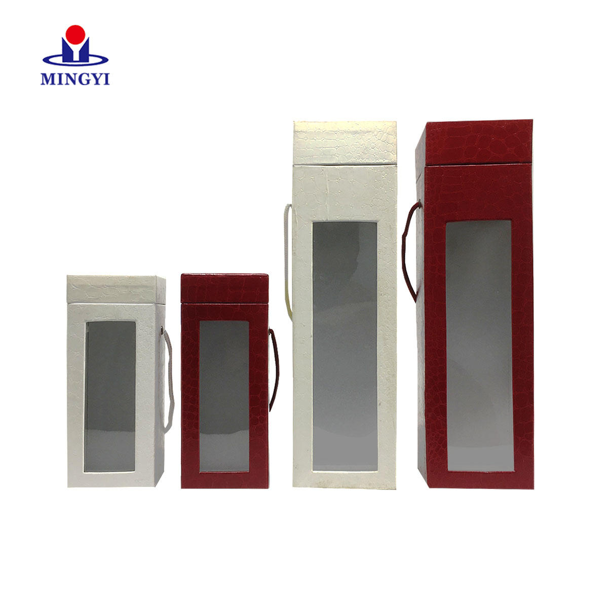 New design luxury paperboard leather cover packaging wine box with lid and PVC window custom
