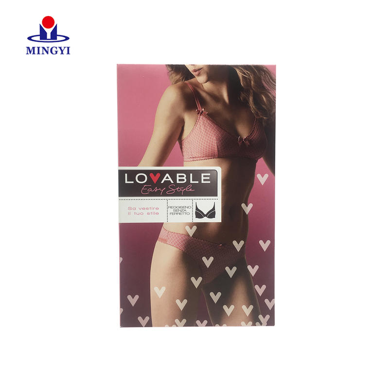 Luxury brand customized underwear packaging box with lid plug for women