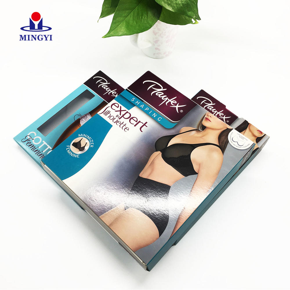 High quality Pantone color foldable C1S paper underwear packaging boxes