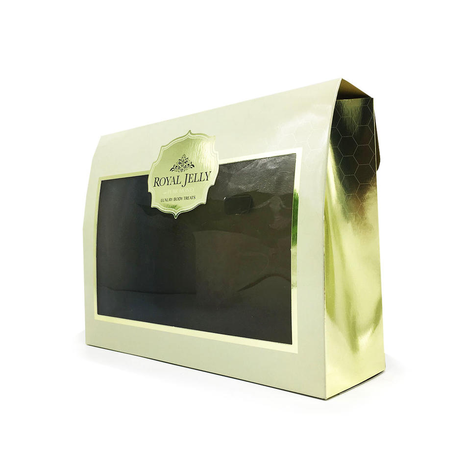 High quality cosmetic packaging box with clear transparent PVC window with luxury gold foil color