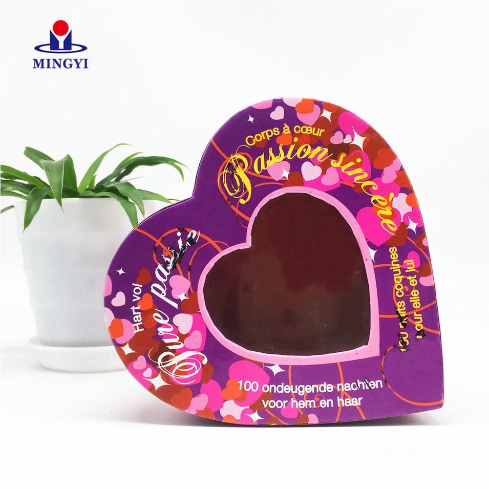 High-end waterproof rigid heart shape cosmetic paper box with pvc window