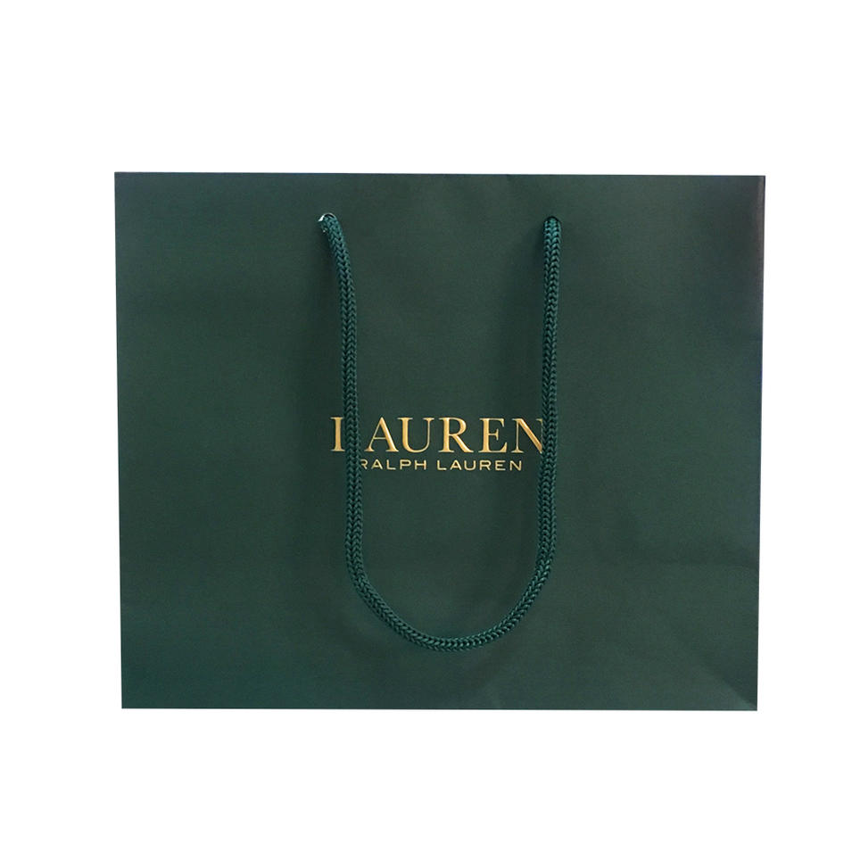 China supplier OEM High quality paper shopping bag with spot uv and nylon string
