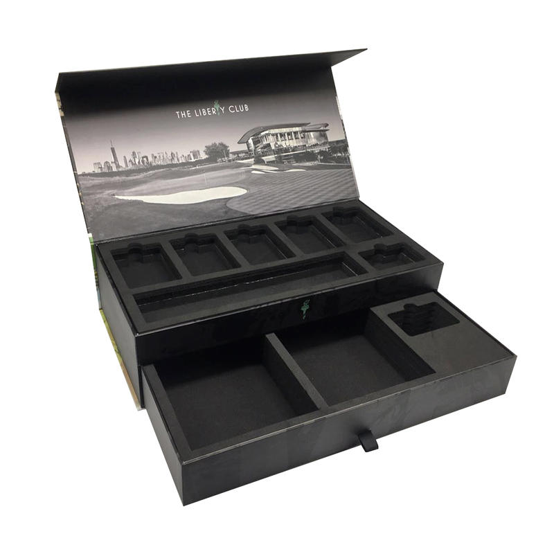 China OEM factory High quality drawer packaging box with sponge and Spot UV