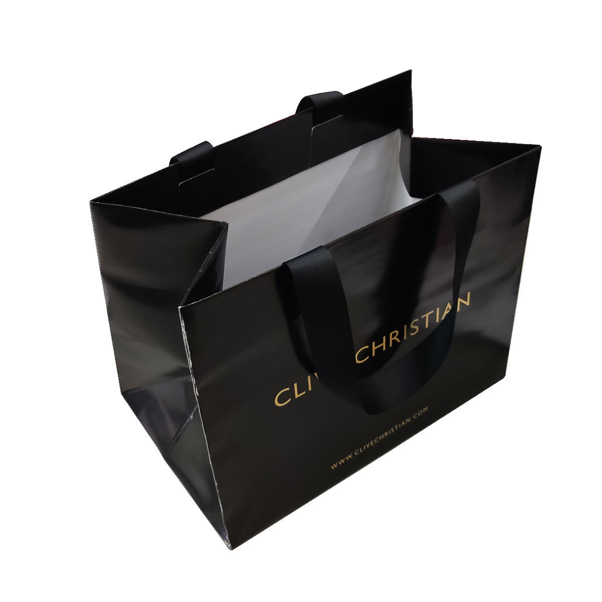 High quality spot UV and CMYK print floral Stripe paper bag custom