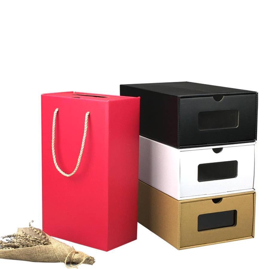 China supplier custom eco friendly kraft shoe packaging box with ribbon