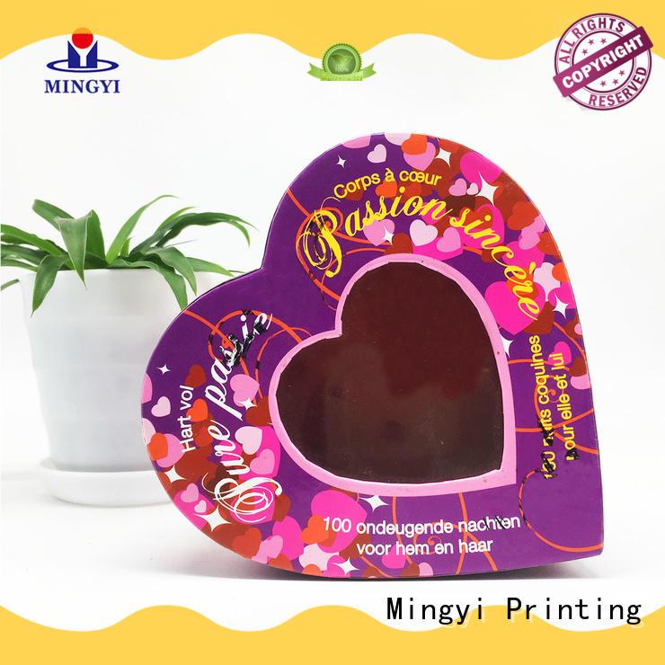 High-end waterproof rigid heart shape cosmetic paper box with pvc window