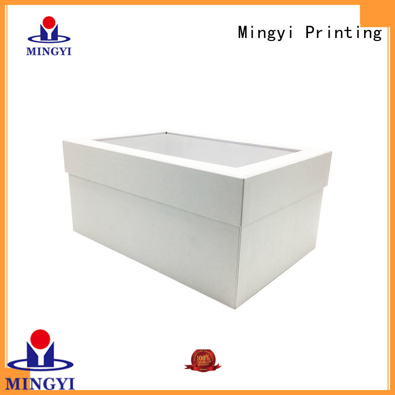 Custom cheap corrugeta packaing box with PVC window with lid white paper box