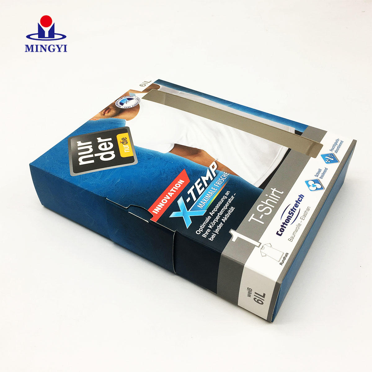 New customized famous brand T-shirt packaging box with PVC window